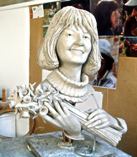 Pauline Mitchell commissioned bronze bust by Laurence Broderick